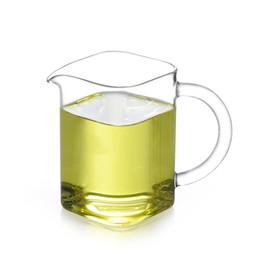 Canada Effacer Carré en verre résistant à la chaleur tasse à thé Serveuse Pitcher Gongfu Chi Hai avec poignée Bureau Drinkware livraison gratuite $ 18aucun morceau Offre