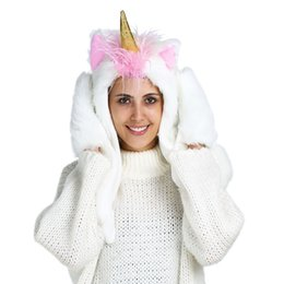 Wholesale Animal Scarf Hat Mittens - Halloween Cosplay 3 in 1 Plush Unicorn Party Hat with Built-In Scarf and Mittens Cartoon Animal Party Costume Gift
