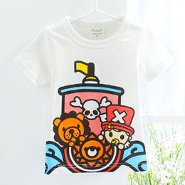Wholesale Child Pirate Shirt - Wholesale Hot 2017 summer Newly Cartoon pirate boat Kids Short Sleeve T-shirts Cute Boys Top Tees Fashion Tshirt For Kids Children Clothing