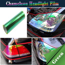 Wholesale Shiny Car Stickers - Car Headlight Film Color Change Sticker Shiny Chameleon Auto Car Styling headlights Taillights film lights Change Color Car film Stickers