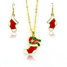 Wholesale Christmas Necklaces For Girls - Fashion Jewelry Sets Red Enamel Christmas Stocking Pendants Gold Plated Earrings Necklace Sets For Women Christmas Jewelry