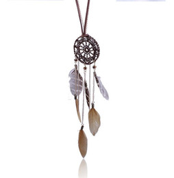 Wholesale Necklace Feathers Gold Long - Fashion Statement Dreamcatcher Feather Necklace New Brand Leopard HandmadeLong Dreamcatcher Long Necklaces For Women Sweater Accessories
