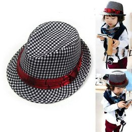 Wholesale Dandys Autumn - 2015 Hot Spring Fashion Canvas Classical Plaid With Bow Children Fedoras For Boys Hats , dandys