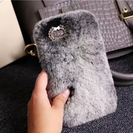 Wholesale Bunny Iphone Covers - For iPhone X 10 8 7 6 Rabbit Bunny Phone Case High Quality Artificial Cony Hair TPU Cover Back case