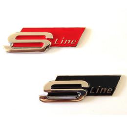 Wholesale Audi A4 Rs4 - 1 Pcs RED BLACK METAL Sline S LINE SIDE FENDER REAR TRUNK Badge Emblem Sticker for Audi S3 S4 S5 S6 S8 A1 A3 A4 A5 A6 A7 TT RS4