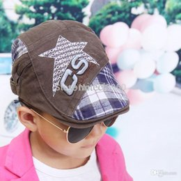 Wholesale Boys Beret Stars - chic print star patchwork plaid visor cap for children boy and girl peaked cap casquette,cheep price good quality chic beret cap