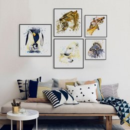 Wholesale zebra print wall decor - Watercolor Giraffe Zebra Horse Lion Animals Family Love A4 Big Art Print Poster Wall Picture Canvas Painting No Frame Home Decor