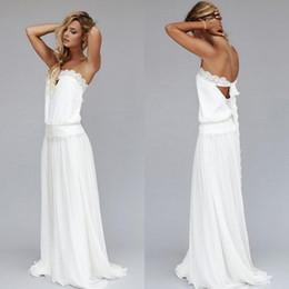 Wholesale Drop Waist Lace - 2015 Vintage Beach Wedding Dresses 1920s Cheap Dropped Waist Bohemian Strapless Backless Boho Bridal Gowns Lace Ribbon Custom Made
