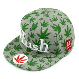 Wholesale Cap Hush - 1 Color Hip Hop Hush Letters Snapback Baseball Caps Unisex Sports Adjustable Bone Women Hempleaf casquette Bamboo leaf Men hat Casual