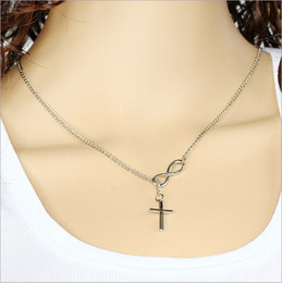 Wholesale European Super Fashion Necklace - Good luck number 8 European American fashion cross necklace short paragraph alloy clavicle chain necklace Super cheap