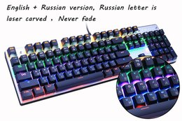 Wholesale Stickers For Tablets - Mechanical Keyboard 87 104 keys Russian   English 3 Color Backlight Black Switch Gaming Keyboards for Tablet Desktop Russian sticker