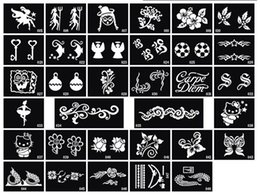 Wholesale Body Art Glitter Tattoo Supplies - Glitter Tattoo stencil design for Body art Painting 100 sheets mixed designs Supply free shipping