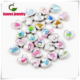 Wholesale Baby Sliders - 20Pcs Lot Free Shipping Assorted Baby Cloth Feet Baby Carriage Charms Heart Charms Mix For Floating Locket