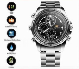 Mini grabadora de video impermeable en venta-16GB Mini Videocámara HD impermeable reloj video ocultada cámara del reloj DVR 10pcs / lot de DHL