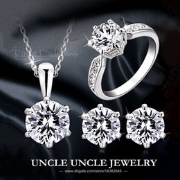 Wholesale Gold Filled Necklace Sets - Classic!!! 18K White Gold Plated Eight Arrows Eight Heart Zirconia Wedding Lady Jewelry Set(Necklace Earring Ring) Wholesale 18krgp