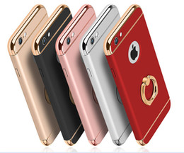 Wholesale Iphone Finger Ring Case - Eletroplating 3 in 1 Phone Case Finger Ring Stand Holder Kickstand Ultra Thin Protective Cover for iPhone x iPhone 8 6 7 Plus
