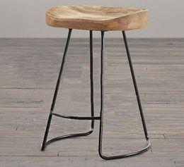 Wholesale Wholesale Fashion Furniture Sets - Fashion stool The village of retro furniture,Vintage metal bar chair,anti rust treatment,Commercial Bar furniture sets,100% wood bar stool