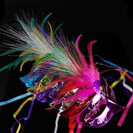 Wholesale Dance Mask Princess - LED Venice Shiny Masks LED Flashing Princess Mask Dance party Mask Side Plating Mask LED feather Masks Masquerade Masks for Holiday Carnival