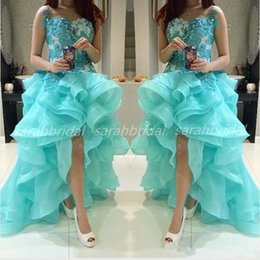 Wholesale Turquoise Lace Dress Cheap - 2015 Hi Lo Turquoise Prom Party Dresses with Organza Ruffle Bottom For Special Occasion Sale Cheap Arabic Sequins Lace Formal Evening Gowns