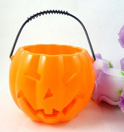 Wholesale Halloween Pumpkin Bucket - Hollow Jack-O-Lantern Pumpkin Light Up Halloween Trick or Treat Candy Bucket Bag pumpkin lamp party decoration supplies