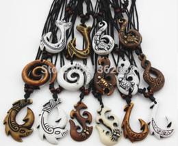 Wholesale Fish Pendant Gold Filled - 20pcs Mixed Hawaiian Jewelry Imitation Bone Carved NZ Maori Fish Hook Pendant Necklace Choker Amulet Gift YN542