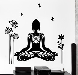 Wholesale Lotus Wall Decals - 2016 Wall Decal Buddha Yin Yang Oriental Lotus Blossom Meditation OM Wall Sticker Home Decor removable wall decals