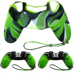 Wholesale Silicone Carrying Handle - New Hot Sale Camo Green Silicone Non-slip Grip Handle Case Cover + Lanyard for Sony PS4 Controller