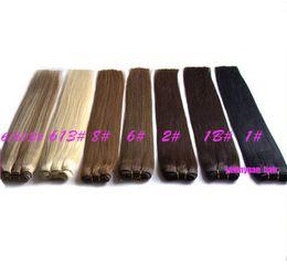 billig 18 zoll rote haare Rabatt ELIBESS heißer 100% menschlicher Haar-Schuss bündelt brasilianischen geraden Haarverlängerungen # 1 # 1B # 2 # 4 # 27 # 613 Mischungslänge 12-24inch brazillian Haar-Schuss