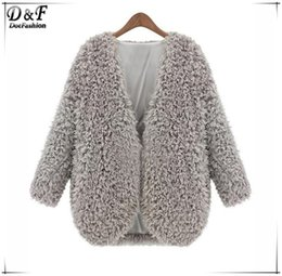 Wholesale Classy Clothing - 2015 Elegant Clothing Spring Designer Women's Brand Name Classy Roupas Feminina Fashion Grey V Neck Long Sleeve Faux Fur Coat