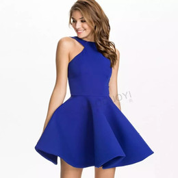 Wholesale Royal Blue Casual Dresses - 2017 Royal Blue Fashion Halter Scoop Neck Short Bodycon Dress Black Prom Dresses Summer Dress For Women Cheap Homecoming Gowns