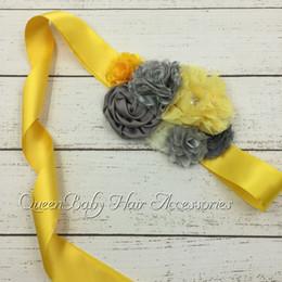 Wholesale Boy Maternity - Grey&Yellow Combo Sash Satin Flower Sash Maternity Sash Boy Photograpy Prop Flower Sash Luxe Sash Vintage Sash