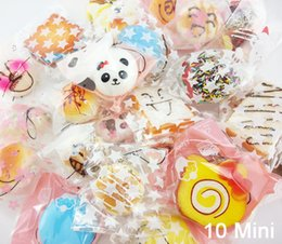 Wholesale Squishy Macaroons - Wholesale-10PCS Mini Random Squishy Soft Panda Bread Donut Buns Macaroon Phone Straps Key Chians