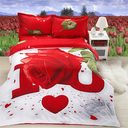 Wholesale classic bedding sets - Wholesale-Rose Prints 3D Fashion Bed Linen Classic Comfortable Printing Comforter Sets Red Flowers Pillowcase Bedding bag