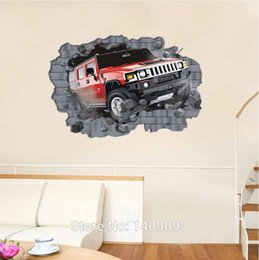 Wholesale Red Sticker Paper - 3D Mural Art Red Car Passing Wall Decoration 70*100cm Extra Large Wall Decals Vinyl Sticker Kids Room Cartoon Poster