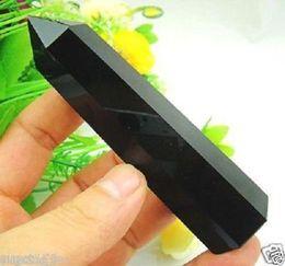 Varita de cristal de cuarzo negro online-160-180MM Natural Negro Obsidian Quartz Crystal Single Terminated Wand Healing #