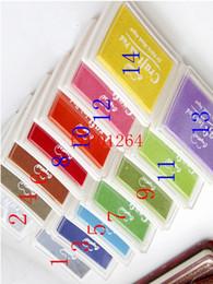 Selos bonitos da tinta on-line-Frete Grátis Agradável bonito grande ofício Ink pad Stamp inkpad set para DIY engraçado trabalho 15 cores para a escolha 200 pçs / lote