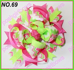 Wholesale Boutique Chevron Bows - free shipping popular 30pcs 4.5'' chevron hair bows boutique hair bows fashion layered corker bows