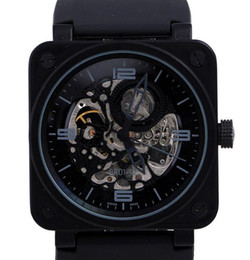 Wholesale Mechanical Watches Skeleton Square - Luxury Swiss Brand Black Stainless PVD Skeleton Watch Face Rubber Limited Edition Mens Automatic Mechanical Diver Men Antique Wristwatch Man