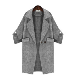 Wholesale Womens Tops Large - Wholesale-Womens Fashion Trench coat Elegant Gray Suit Blazer Lapel Loose Tops Large size EU US style New Hot Selling