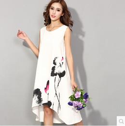 Wholesale Designer Sundresses Dresses - Wholesale-Summer 2015 Women New arrival Dress Cotton Linen Sleeveless Long Dress Vest Retro Designer Vintage Sundress h291