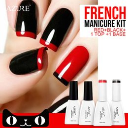 Wholesale Nail Sticker Uv - 4pcs Azure Nail Gel Polish French manicure Black Red Color UV Lamp LED Soak Off French Sticker Kit Top Coat Base Coat
