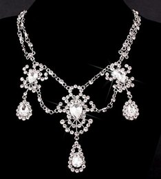 Wholesale White Classic Style Wedding Dresses - European and American style hot sell Bride jewelry luxury crystal alloy tassel necklace Wedding dress accessories yzs168