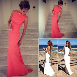 Wholesale Cheap Formal Maxi Dresses - Coral Prom Dresses 2018 Vintage Backless Evening Gown Long Bridal Party Dress Fitted Summer Beach Maxi Bridesmaid Formal Wear Cheap