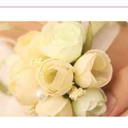Wholesale Silk Ribbon Flower Buds - Romantic Wrist Corsage Flower Beading Pearls Long Ribbons Package Sales Cheap Wedding Supplies Solid Colors Wrist Corsages Free Shipping