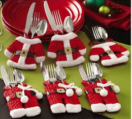 Wholesale Table Decoration Free Shipping - Free Shipping Hot Sale Fancy Santa Christmas Decorations Silverware Holders Pockets Dinner Table Decor Free Shipping
