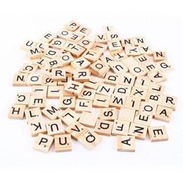 Wholesale Wood Tile Wholesale - 100pcs set Wooden Alphabet Scrabble Tiles Black Letters & Numbers For Crafts Wood C3125