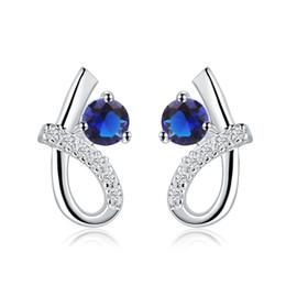 Wholesale Dangling Clear Rhinestone Earrings - Fashion Style 925 Silver Earrings Fashion Blue Zircon Earrings with Clear Austria Crystal Stud