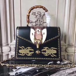 Wholesale Business Fox - Broche glossy bamboo beetle print top handle bag beautiful fox women fashion leather Luxury ladies handbags fast free shipping style 466434