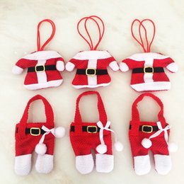 Wholesale Christmas Pouch Pants - Christmas Table Decoration Cutlery set Mini Clothes Pants Suit Dinnerware Fork Spoon Pouch Xmas Party Home Layout