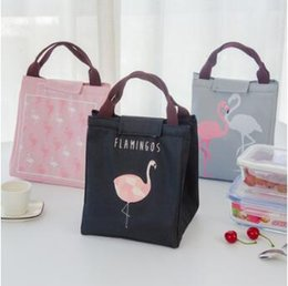 Wholesale Cool Lunch Totes - 4 Colors Flamingo Tote thermal Bag Black Waterproof Oxford Beach Lunch Bag Food Picnic Warm Cool Keeper Unisex Cooler Bag CCA8164 50pcs